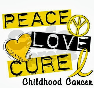 Text: peace love cure childhood cancer