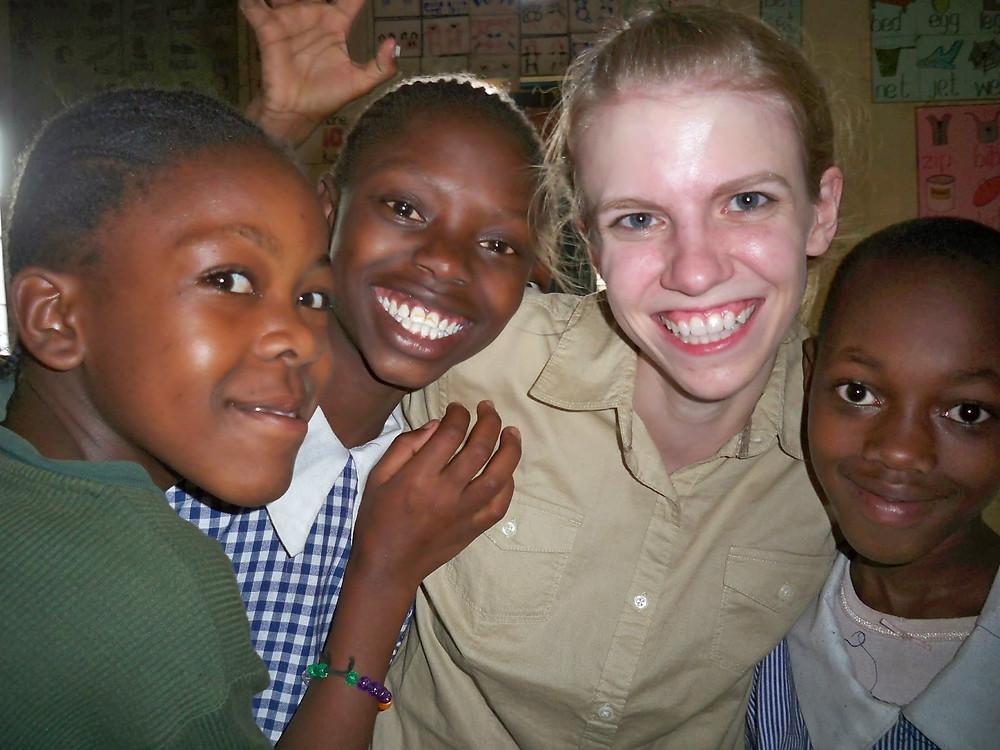 Brittany with Kenyan children