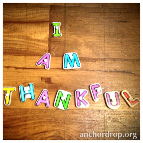 Letters spelling I am thankful