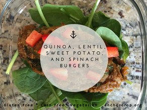 Quinoa, Lentil, Spinach, and Sweet Potato Bugers