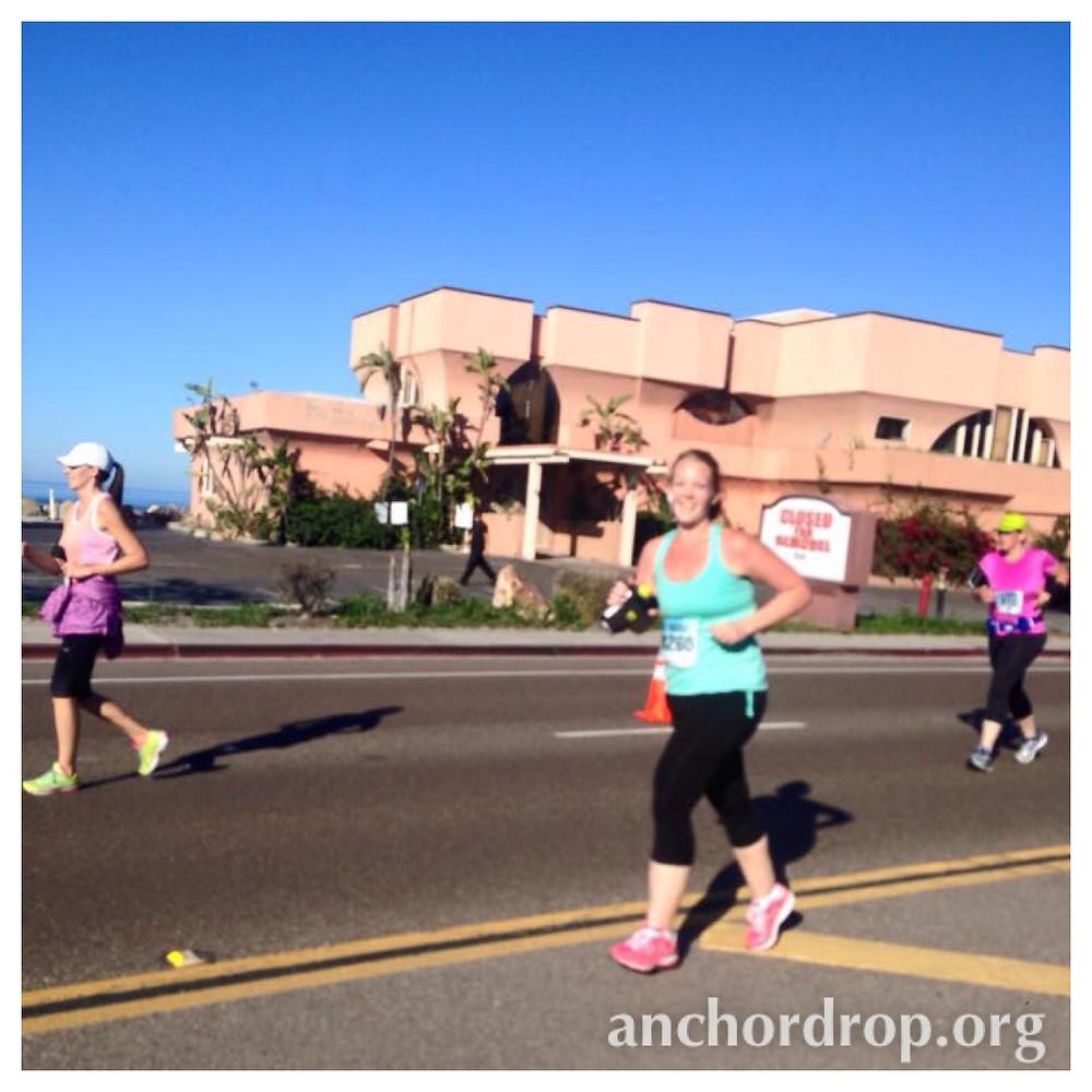 the author running in a half marathon race