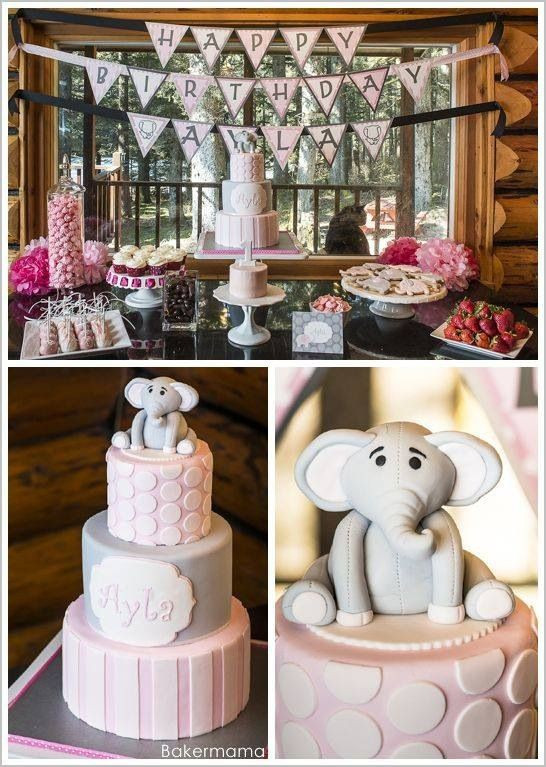 Pink elephant birthday party decor