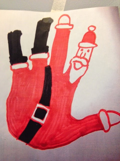 drawing of a hand turned into santa