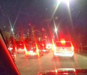 bumper to bumper traffic in downtown chicago