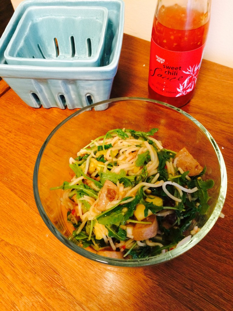 Bowl of arugula rice noodles
