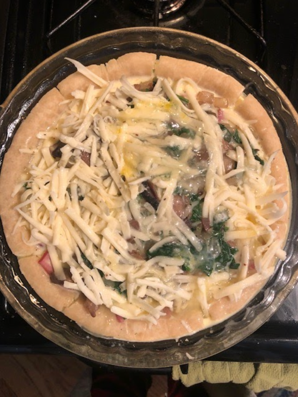 cheese on top of the pie filling
