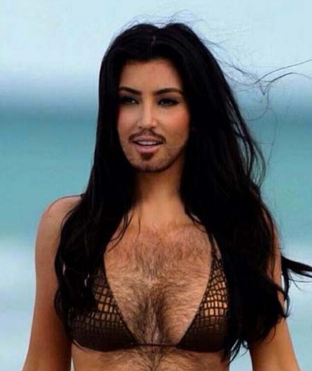 woman with hairy chest and facial hair in bikini