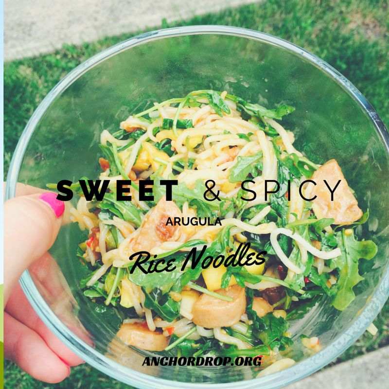 sweet and spicy arugula rice noodles