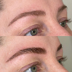 brow lamination before after image