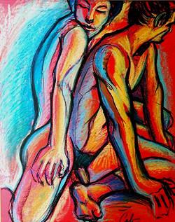 Couple - Pastel à l'huile - 50x65cm