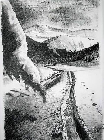 Paysage de neige aux Crayons gras 2B, 4B, 6B