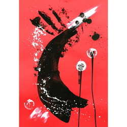 Red 7 / Acrylic and Ink on card