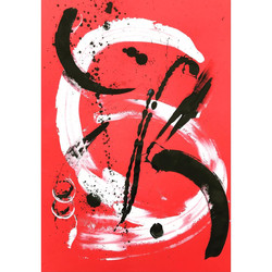 Red 6 / Acrylic and Ink on card