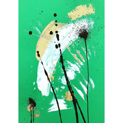 Green 3 / Acrylic and Ink on card