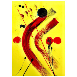 Yellow 5 / Acrylic and Ink on card