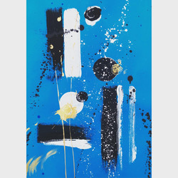 Blue 4 / Acrylic and Ink on card