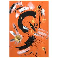 Orange 4 / Acrylic and Ink on card
