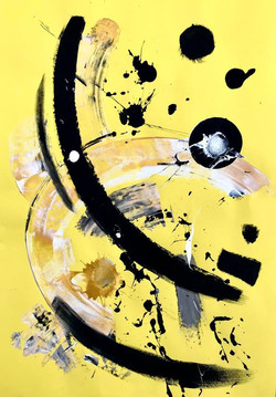 Yellow 7 / Acrylic and Ink on card