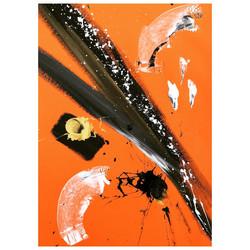 Orange 5 / Acrylic and Ink on card