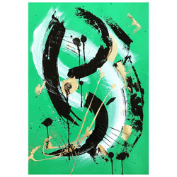 Green 5 / Acrylic and Ink on card