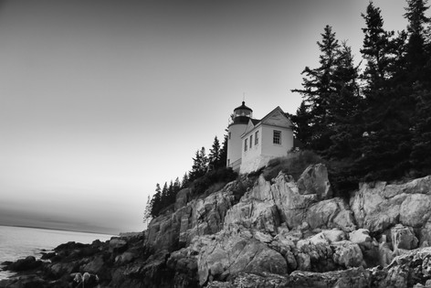 Bass Harbor Lighthouse In Black And White