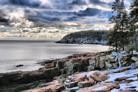 Rocky Winter Coast Of Acadia