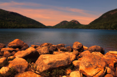 Sunset over Jordan Pond
