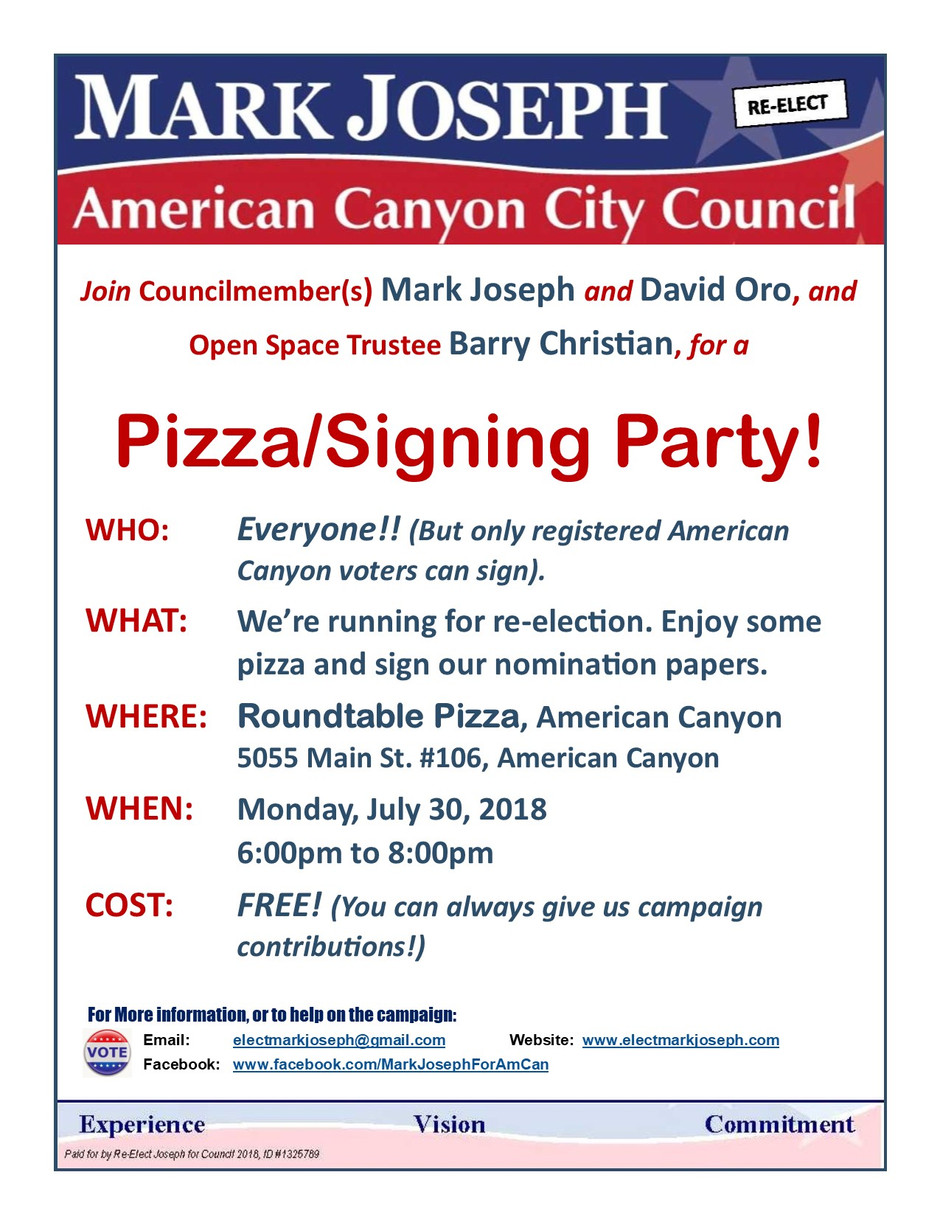 Join Us for a Pizza/Signing Party - July 30