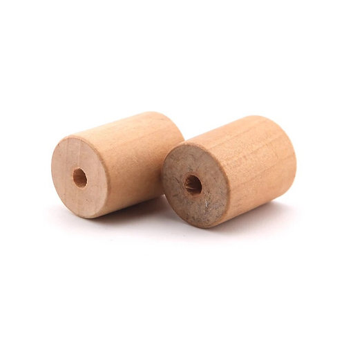 Wooden Cylinder Beads x 5