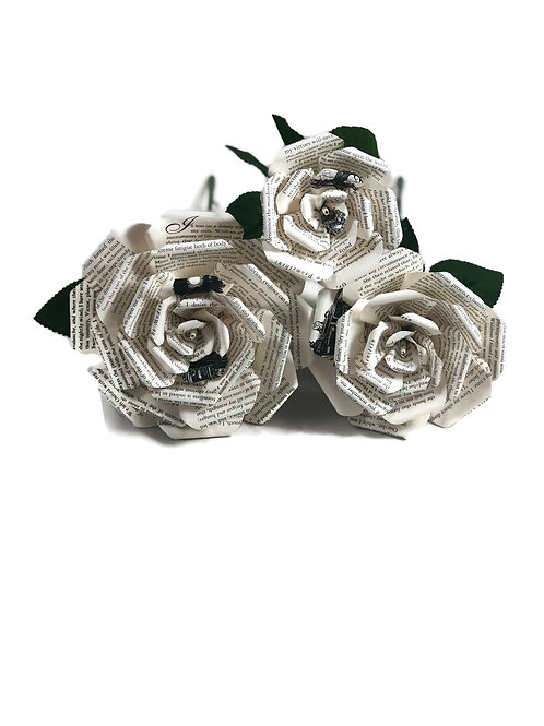 Frankenstein Book Paper Flowers in 3 Sizes