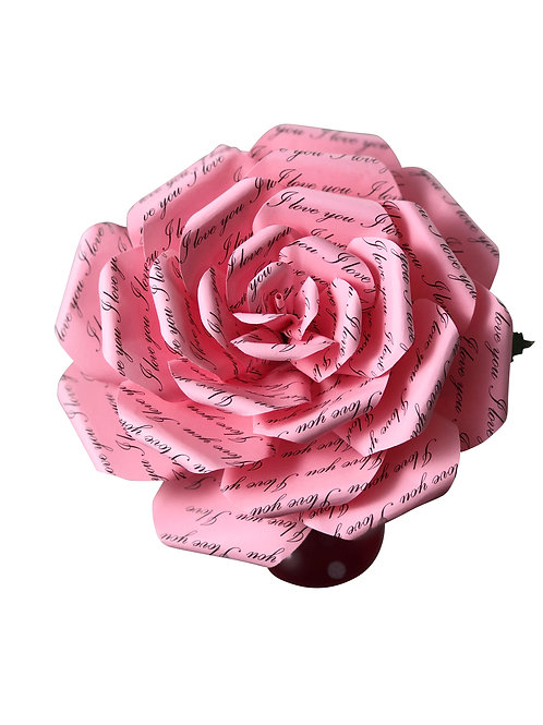 I Love You Pink Paper Flowers in 3 Sizes