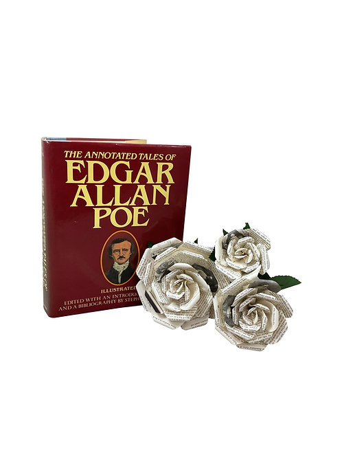 Edgar Allan Poe Book Paper Flowers in 3 Sizes