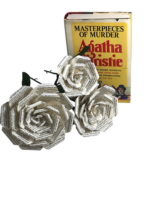 Agatha Christie Book Page Flowers in 3 Sizes
