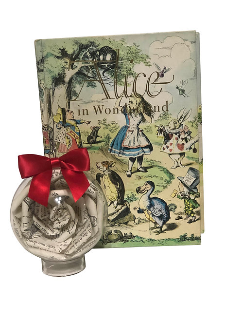 Alice in Wonderland Book Flower Ornament