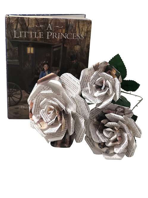A Little Princess Book Page Flowers in 3 Sizes