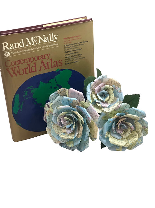 Atlas Map Paper Flowers in 3 Sizes