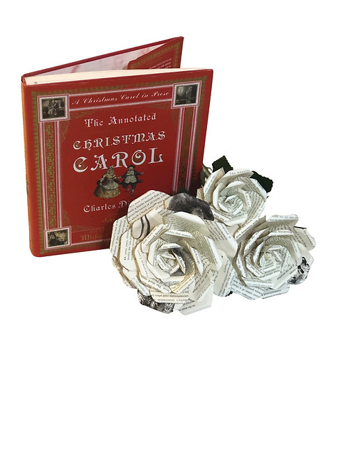 A Christmas Carol Book Paper Flowers in 3 Sizes