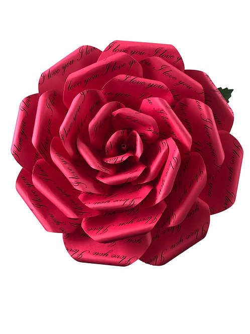 I Love You Red Paper Flowers in 3 Sizes