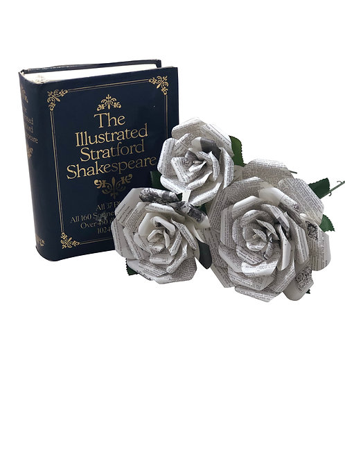 Shakespeare Book Paper Flowers in 3 Sizes