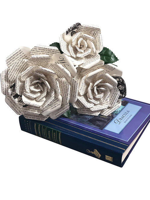 Dracula Book Page Flowers in 3 Sizes
