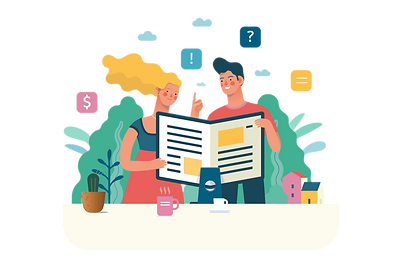 Illustration of two people reviewing designs, Mevo Creative Studios