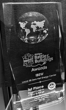 """2018 BATTLE OF THE BUILDINGS """"BIGGEST LOSER"""" - FIRST PLACE OFFICE CATEGORY: IBEW LOCAL 58 ZERO NET ENERGY CENTER"""