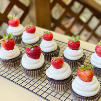 Chocolate, marshmallow buttercream and strawberries