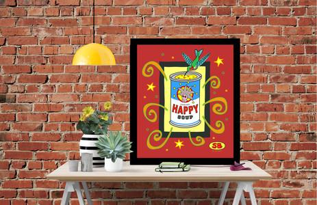 """Happy Soup"" framed print"
