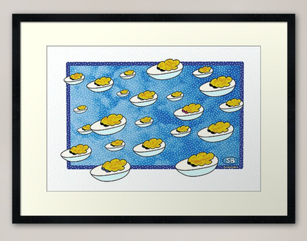 """Parade of Devilled Eggs"" framed print"