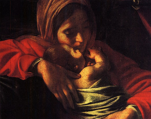 Detail of Madonna and Child from Caravaggio's Adoration of the Shepherds, 1609