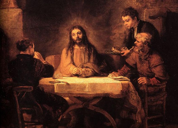 Detail from Rembrandt's Supper at Emmaus, 1648