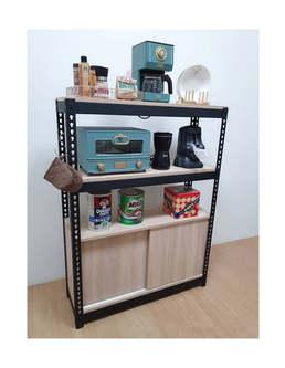 角鋼置物櫃拉門櫃訂做 角鋼架+拉門櫃
