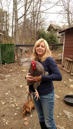 Farm Chick Diana holding Dixon