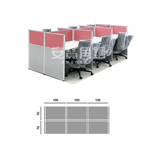 6人辦公屏風-工字型對坐
